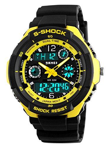 Gosasa Multifunction Sport Watch Mens Digital Shock Resistant Quartz Alarm Waterproof Watches Yellow