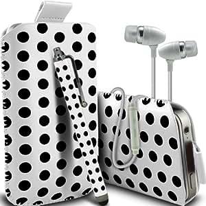 LG Mini G2 Protección Premium Polka PU ficha de extracción Slip In Pouch Pocket Cordón piel cubierta de la caja de liberación rápida, Polka Stylus Pen & Calidad superior en auriculares de botón estéreo de manos libres de auriculares Auriculares con micrófono Mic y On-Off Botón Blanco y Negro por Spyrox