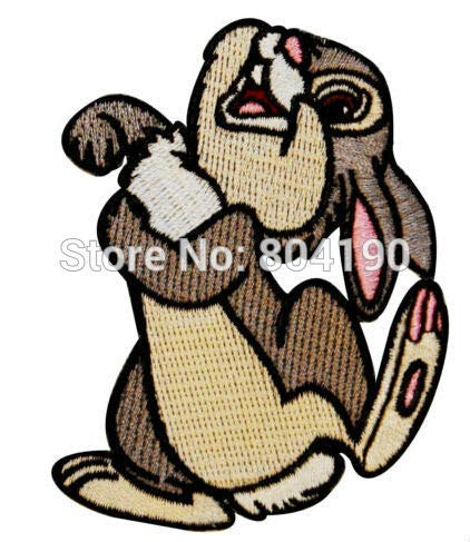 Thumper Rabbit Easter Bunny Film Tv Movie Cute Lovely Cartoon Women Girl Dress Classic Embroideried Patch Patchwork Needlework Sewing Badge Emblem ()