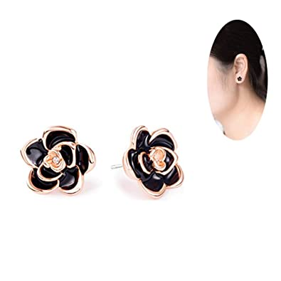 7abad8722 Image Unavailable. Image not available for. Color: Hypoallergenic 18K Gold  Plated Black Rose Flower Stud ...