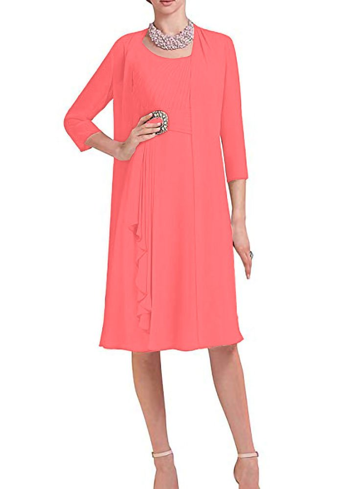 1e02249387f3a H.S.D Mother of The Bride Dresses Formal Gowns Chiffon with Jacket Coral 16W