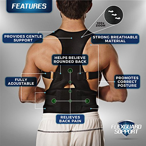 Back Brace Posture Corrector   Best Fully Adjustable Support Brace   Improves Posture and Provides Lumbar Support   For Lower and Upper Back Pain   Men and Women (L (30'' - 36'' waist)) by Flexguard Support (Image #3)