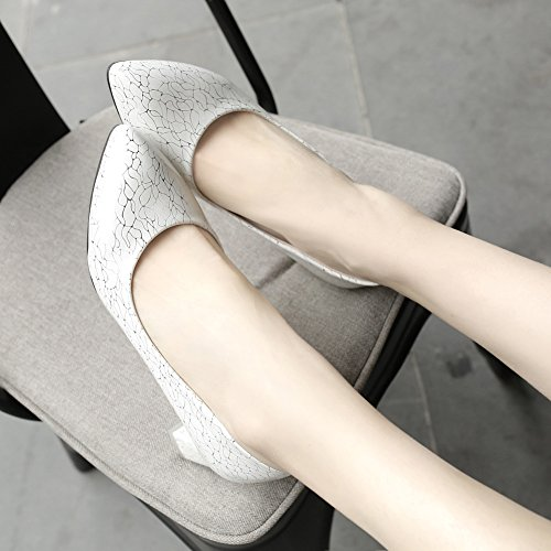 Easemax Femmes Élégant Imprimé Bout Pointu Bas Haut Mi Chunky Talon Pompes Chaussures Blanc