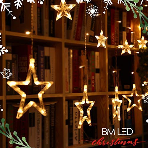BM LED String Lights 12 Star 138 LED Waterproof Hanging Decoration for Wedding, Party, Home, Patio Lawn, Garden, Window Indoor Outdoor (Warm White)