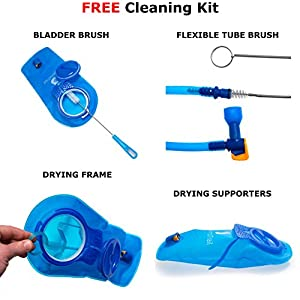 Hydration Bladder, 2 Liter Water Reservoir, Water Bladder, Hydration Pack Bladder, FDA Approved, Tasteless and BPA-Free TPU Material, Large Opening, Quick Release Tube and 3pcs Cleaning Kit