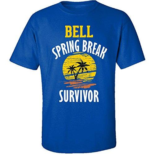 Bell Spring Break Survivor Party Beach Drinking - Adult Shirt L Royal - Survivor Bell