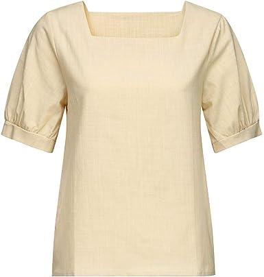 AIMEE7 Ropa Mujer Camiseta Casual Suelta Color sólido con ...