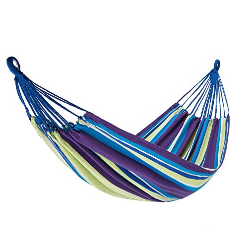 KingCamp Hammock Double Single 1-2 Person Cotton Canvas Portable Large Parachute Swing Bed Tree Hanging Colorful Stripes Outdoor Camping Patio Yard Beach by KingCamp
