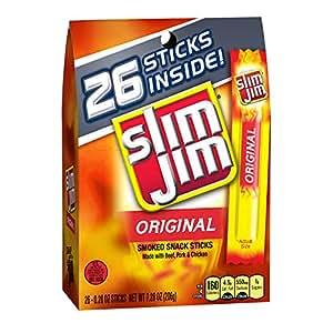 Slim Jim Smoked Meat Sticks, Original.28 Oz, 26-Count