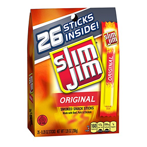 Slim Jim Snack-Sized Smoked Meat Stick, Original Flavor, .28 Oz. 26-Count (Pack of 8)