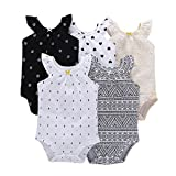 Gold Treasure Newborn Baby Rompers Toddler Girl Cute Printed Bodysuit with One-Piece Short-Sleeved Jumpsuit 6-9 Months
