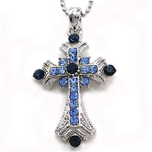Dark Navy Blue Christian Cross Pendant Necklace Charm Rhinestones Chain Fashion (Chain Navy Necklace)