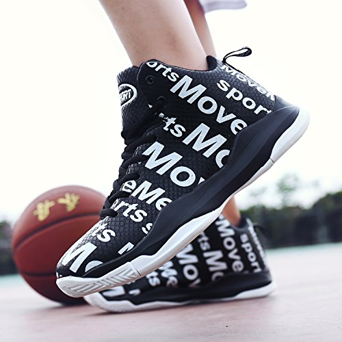 Elaphurus Men's Mid Basketball Shoes High Top Trainers 1-black t1Dpjhm