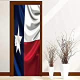L-QN Static Cling Glass Film Flag of Texas Privacy Window Film Decorative Window Film W23 x H70