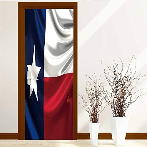 L-QN Static Cling Glass Film Flag of Texas Privacy Window Film Decorative Window Film W23 x H70 by L-QN