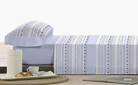 Polo Juego DE SÁBANAS Franela ALGODÓN ANTIPEELING Mod.Devon (Azul, Cama 180): Amazon.es: Hogar