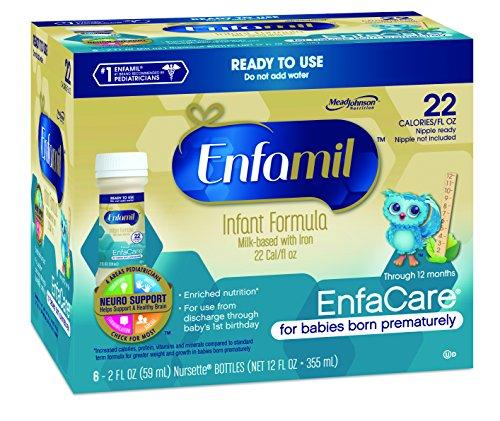 Enfamil  EnfaCare Baby Formula - 22 Calorie - 2 fl oz Plastic Nursette Bottles, 6 Count (Pack of 8)