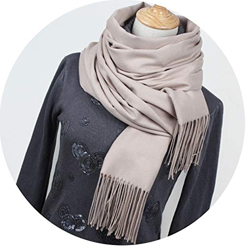 Women solid color cashmere scarves with tassel lady winter thick warm scarf,Beige