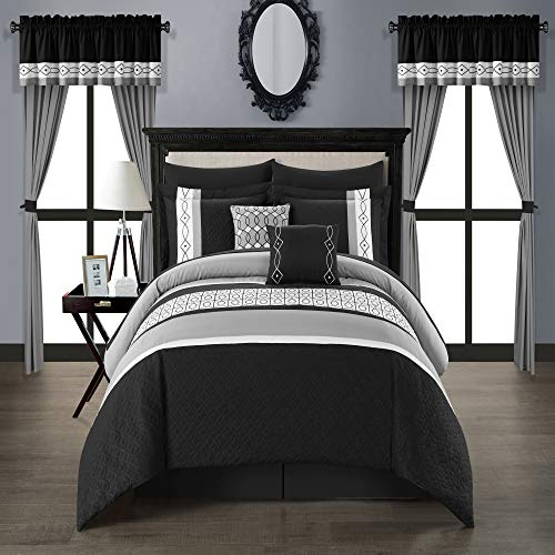 Chic Home Corinne 20 Piece Comforter Set Color Block Geometric Embroidered Bed in a Bag Bedding - Sheet Set Pillowcases Window Treatments Decorative Pillows Shams Included, Queen, - Bedding Treatments Window