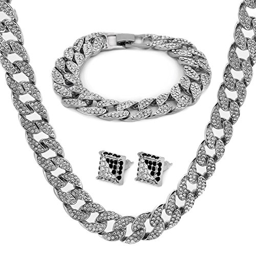 White Gold Color Tone Brass Fully CZ Iced Out 15mm 30' Hip Hop Miami Cuban...