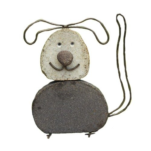 Ancient Graffiti Critters Dog Natural River Stone with Wire