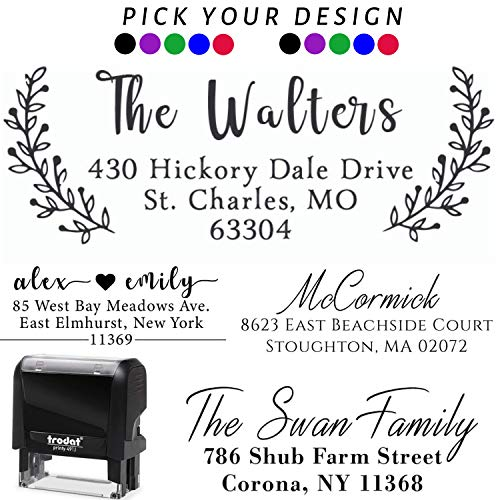 Pick Your Design! Personalized - Address Stamp - Customized Stamp - Self-Inking Return Address Mail 3 Lines Custom Address Stamper - Wedding Favor Stamp Prime Black Red Blue Purple Green Ink - ()