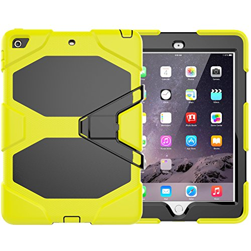 iPad 9.7 Case 2018/2017, Dooge Kickstand Heavy Duty Shockproof Rugged Case Hard PC+Silicone High Impact Full Body Protective Case with Built in Screen Protector for Apple iPad 9.7 inch 2017/2018 Model ()