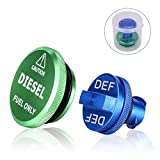 Magnetic Green Diesel Fuel Cap and Blue RAM DEF Cap for 2013-2017 Dodge Ram Diesel Trucks 1500 2500 3500 Fuel Tank Caps DEF Caps Packs
