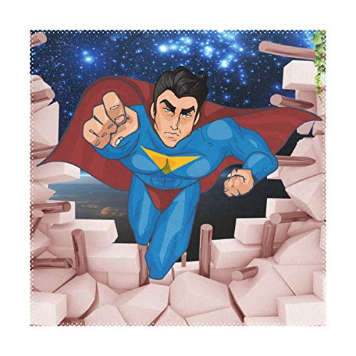 Aluy's boutique 3D Cartoon Superman Background Wall Placemats Home Dinner Decorative, Heat-Resistant and Stain Resistant Dining Table Mats Washable Place Mats, Set of 4, (12x12inch)