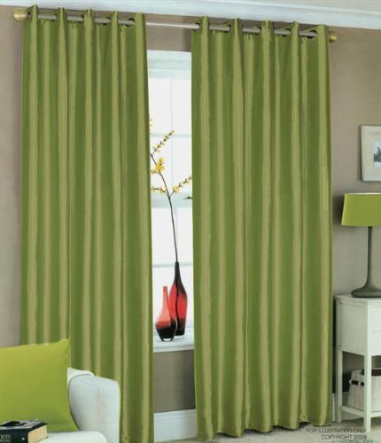GREEN FAUX SILK LINED CURTAINS WITH EYELET RING TOP 90 X By HOMEMAKER BEDDING