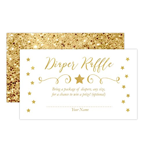 Twinkle Twinkle Little Star Baby Shower Diaper Raffle Card, Twinkle Little Star Diaper Raffle Ticket, Gold, 50 -