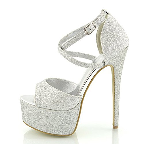 7 Inch High Heel Sandals (Onlymaker Womens Ankle Strap Platform High Heels Peep Toe Stiletto Sandal Party Dress Heel Pump Silver Glitter 6 M)