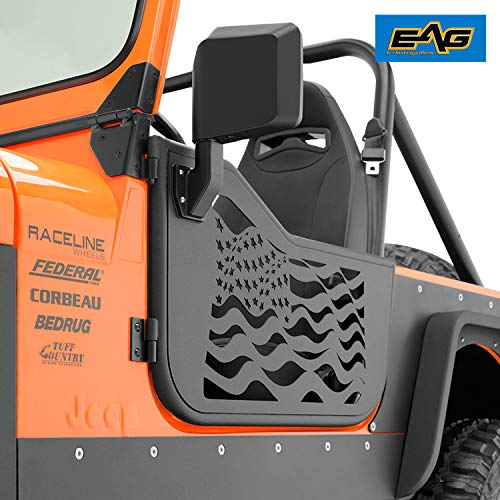 EAG US Flag Tubular 2 Door with Reflection Mirror Fit for 76-95 Jeep CJ7 / YJ Wrangler (Cj7 Jeep Parts)