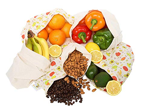 (Reusable Produce Bags Cotton Washable | Cloth Bag with Drawstring | Organic Cotton Muslin Vegetable Bags | Heavy Duty Produce Saver Bag, Food Storage, Bulk Bin, Zero Waste | 2 Sm, 2 Med, 2 Lrg)