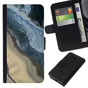 KLONGSHOP // Tirón de la caja Cartera de cuero con ranuras para tarjetas - Fotografía Sand Beach Surf Olas - LG OPTIMUS L90 //