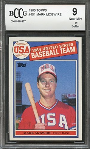 Mark Mcgwire Card - 1985 topps #401 MARK MCGWIRE oakland athletics rookie card BGS BCCG 9 Graded Card