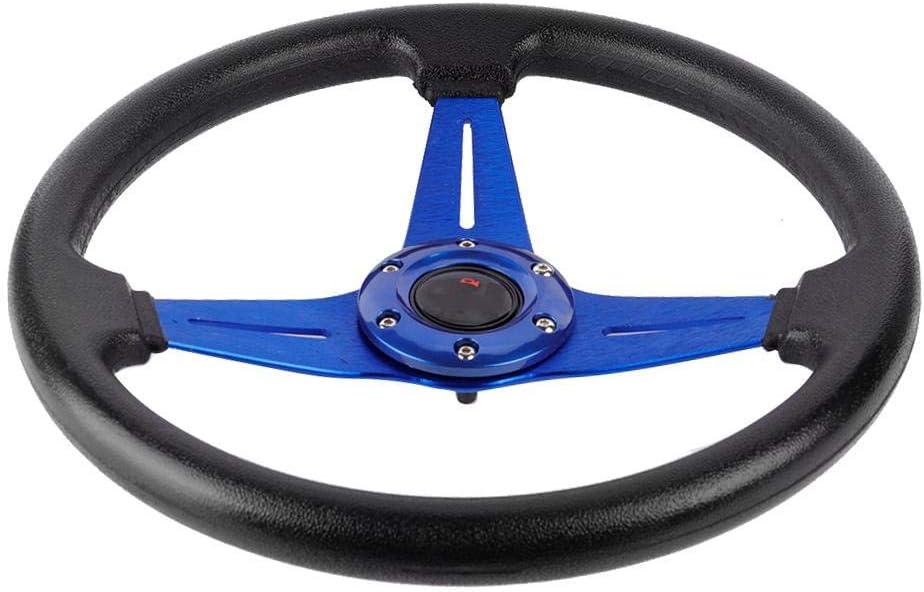 Volante de cuero de PU Sport Racing Drift Volante azul KIMISS 14in 350mm Volante de aluminio universal para autom/óvil