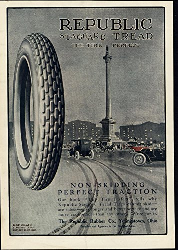 ead Non Skidding car Tire 1911 old color advertising print ()