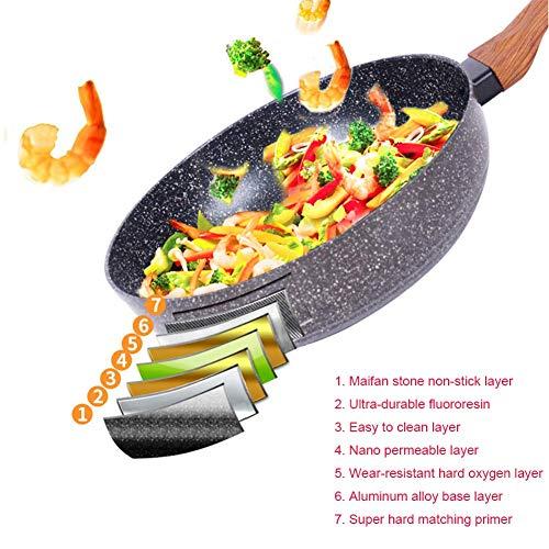 Fry Pan Aluminum Alloy Thicken Deepen Maifanshi Nonstick Glass Pot Lid Gas Induction Cooker General Multifunction Cooking Pans,Gray,30Cm