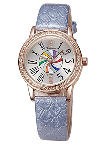 Fashion Leather Strap Women Quartz Wrist Watch, Gray