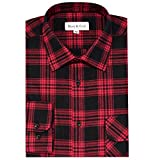 Boot & Cod Men's Red Modern Fitted Long Sleeve Button Down Flannel - Large