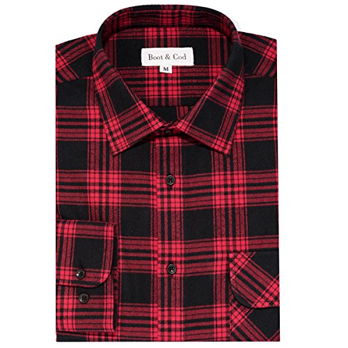 Boot & Cod Men's Red Modern Fitted Long Sleeve Button Down Flannel - Large by Boot & Cod