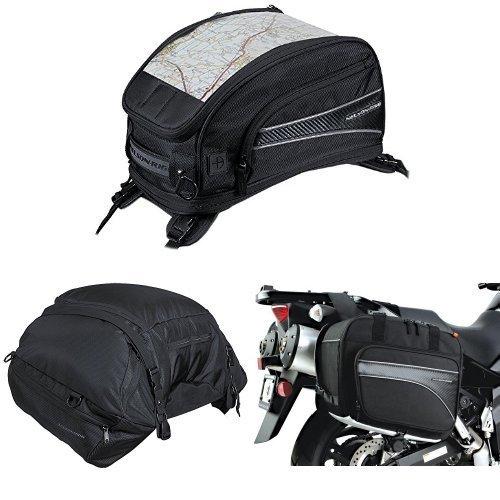 Nelson-Rigg CL-2015-ST Black Strap Mount Journey Sport Tank Bag,  CL-3000 Black Highway Cargo Pack,  and  (CL-855) Black Touring Adventure Saddlebag Bundle