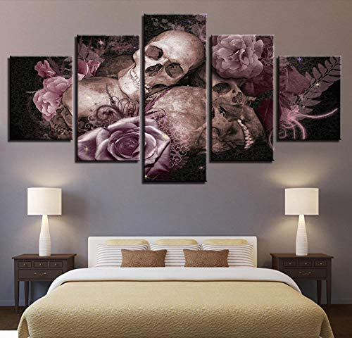 - FEISENWLH Five Panel Canvas Painting 5 Pieces Hd Print Pictures Living Room Candy Bowl Mask Gothic and Rose Poster Canvas Painting Home Decoration Wall Art Frameless