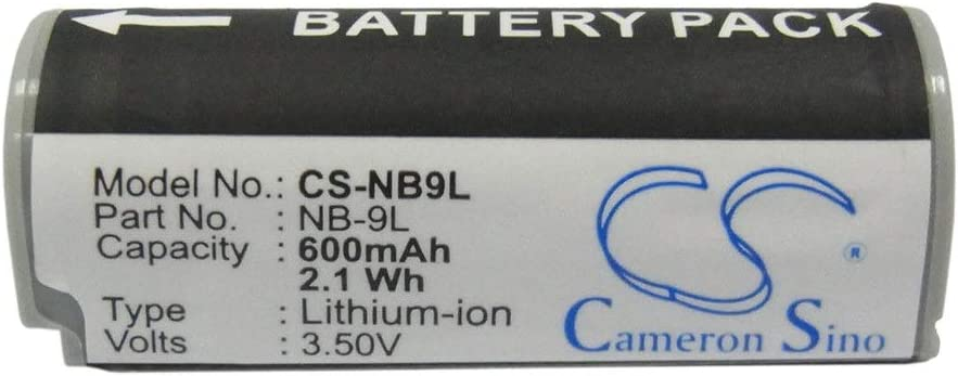 Battery Camera 600mAh//2.16Wh 3.6V Camera Battery for Canon NB-9L//IXUS 1000 HS IXY 1 IXY 3 Photo Battery Color : White Grey, Size : 43.22 x 14.62 x 15.25mm