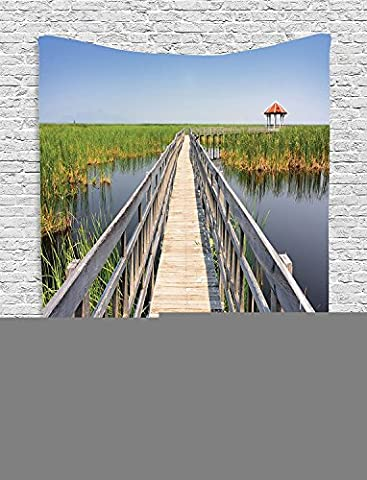 Supersoft Fleece Throw Blanket House Collection Wooden Walkway Bridge in a Swamp Nature Environment Scenery Waterscape Picture Ivory Green (Earth To Earth Swamp Thing)
