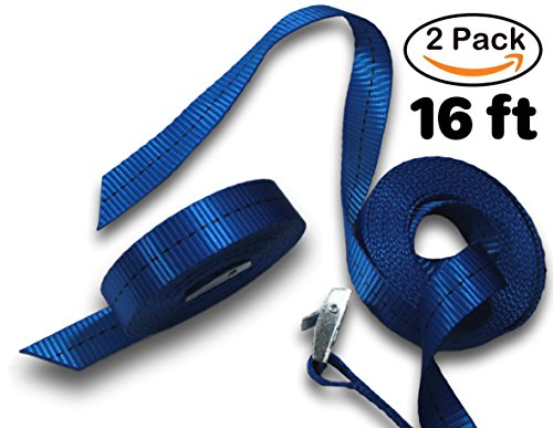 Lashing Straps, Henele 16 Feet Tie Down Straps For Kayaks, Roof Racks, Cargo & Trucks, Heavy Duty Polyester Yarn Luggage Strap with Zinc Alloy Cam Buckle, 550 Lbs Breaking Strength, 2-in-1 Pack (Super X-heavy Game Loads)