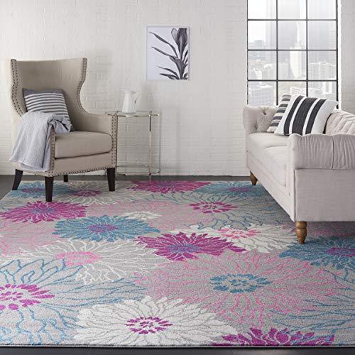 - Nourison Passion PSN17 Floral Bohemian Grey 9'X12' Area Rug (9' x 12')