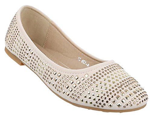 Ballerinas Damen Schuhe Slipper Loafers Strass Nieten Beige