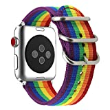 ViCRiOR for Apple Watch Band, 42mm Rainbow Woven Nylon NATO iWatch Band Replacement Strap with Metal Buckle for Apple Watch 42mm Series 3, Series 2 and Series 1